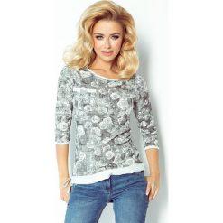 Bluzy damskie: Bluza z materiału pętelka – biała w CZARNE róże