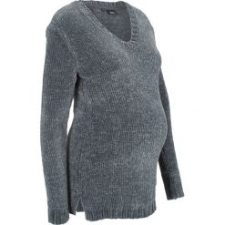 Sweter ciążowy z szenili bonprix antracytowy. Szare swetry klasyczne damskie bonprix, na zimę, moda ciążowa. Za 79,99 zł.