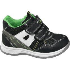 Buciki dziecięce Bobbi-Shoes czarne. Niebieskie buciki niemowlęce chłopięce marki Born2be, z materiału, z okrągłym noskiem, na obcasie. Za 59,90 zł.