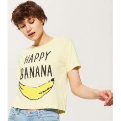 Bluzki, topy, tuniki: T-shirt z cekinową aplikacją – Żółty