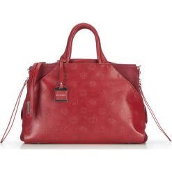 Torebka damska 87-4E-012-3. Czerwone torebki klasyczne damskie Wittchen, w paski, z nubiku. Za 999,00 zł.