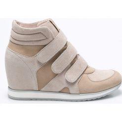 Gino Rossi - Botki. Szare buty zimowe damskie marki Gino Rossi, w paski, z materiału, małe. Za 599,90 zł.