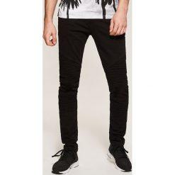 Odzież męska: Spodnie skinny z biker panelami – Czarny