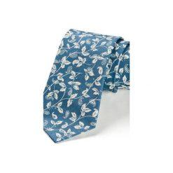 Krawaty męskie: Krawat męski LEAF NIEBIESKI