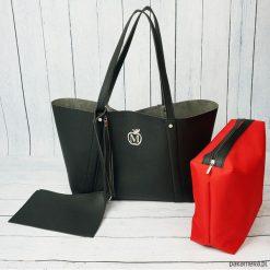 Kuferki damskie: Duża torba worek MANZANA xxl 3w1 czarna