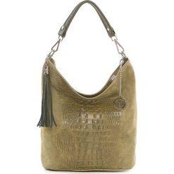Shopper bag damskie: Skórzana torebka w kolorze oliwkowym – 26 x 28 x 12 cm