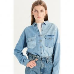 Jeansowa koszula w paski - Niebieski. Niebieskie koszule jeansowe damskie Sinsay, l, w paski. Za 79,99 zł.