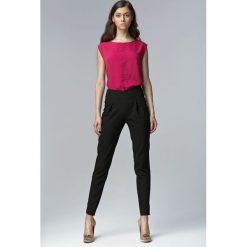 Odzież damska: Czarne Eleganckie Spodnie z Wysokim Stanem z Rozciętymi Nogawkami