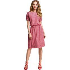 Czerwona Casualowa Sukienka w Drobną Krateczkę. Czerwone sukienki mini marki Molly.pl, l, ze skóry, wakacyjne, z krótkim rękawem, oversize. Za 135,90 zł.