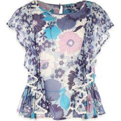 Koszule body: Koszula z okrągłym dekoltem, w kwiatowy wzór, krótki rękaw