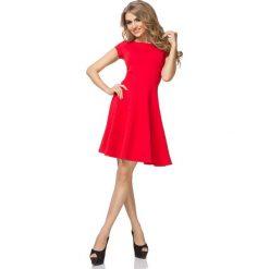 Czerwona Sukienka Klasyczna Rozkloszowana z Mini Rękawkiem. Czerwone sukienki balowe marki Molly.pl, l, z tkaniny, z klasycznym kołnierzykiem, mini, oversize. Za 129,90 zł.
