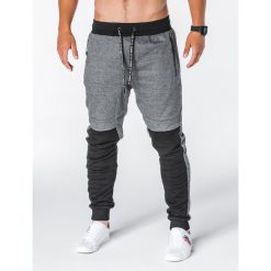 SPODNIE MĘSKIE DRESOWE P642 - GRAFITOWE. Szare spodnie dresowe męskie Ombre Clothing, z bawełny. Za 55,00 zł.