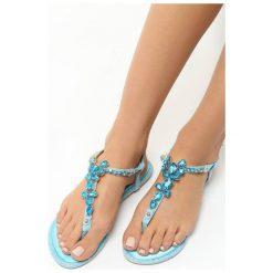 Niebieskie Sandały Prosperous. Niebieskie sandały damskie Born2be, z materiału, na obcasie. Za 59,99 zł.