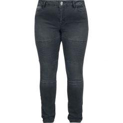 Spodnie damskie: Junarose Five Slim Grey Biker Jeans Jeansy damskie ciemnoszary