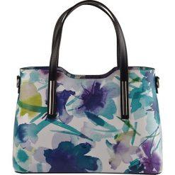 Torebki klasyczne damskie: Skórzana torebka w kolorze niebiesko-białym – 32 x 22 x 12 cm