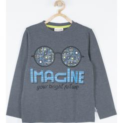 Koszulka. Szare t-shirty chłopięce z długim rękawem COOL ROBOTS, z aplikacjami, z bawełny. Za 45,90 zł.