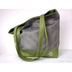 Torebki klasyczne damskie: Pojemna torba XL szary i zielony