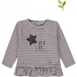 Koszulka w kolorze szarym. Szare bluzki dziewczęce bawełniane bellybutton, z nadrukiem, z dekoltem na plecach. W wyprzedaży za 49,95 zł.