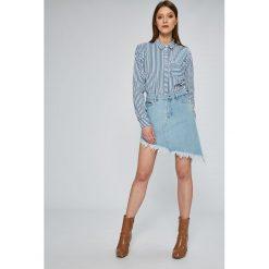 Tommy Jeans - Spódnica. Szare minispódniczki marki Tommy Jeans, z bawełny, asymetryczne. W wyprzedaży za 219,90 zł.