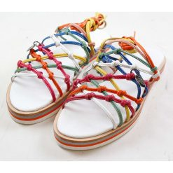 """Rzymianki damskie: Skórzane sandały """"Celia"""" z kolorowym wzorem"""