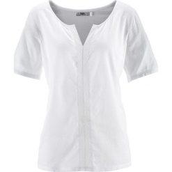Bluzka bawełniana, krótki rękaw bonprix biały. Białe bluzki damskie bonprix, z bawełny, z krótkim rękawem. Za 32,99 zł.