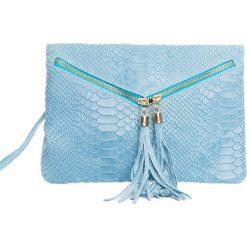 Puzderka: Skórzana kopertówka w kolorze błękitnym – 27 x 18 x 3 cm
