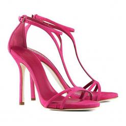 Skórzane sandały w kolorze fuksji. Czerwone sandały damskie BOHOBOCO, ze skóry, na obcasie. W wyprzedaży za 1159,95 zł.