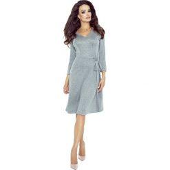 Sukienki: Szara Sukienka Midi z Kopertowym Wiązaniem na Boku