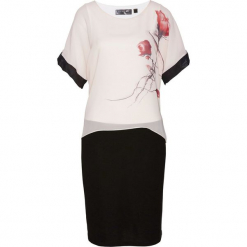 Sukienka bonprix beżowo-czarno-jasnoróżowy z nadrukiem. Różowe sukienki na komunię marki numoco, l, z dekoltem w łódkę, oversize. Za 129,99 zł.