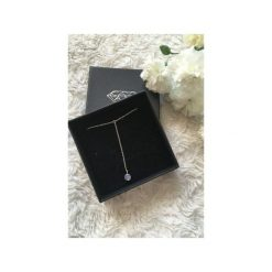 Naszyjniki damskie: Srebrny naszyjnik krawatka z cyrkonią Swarovskiego