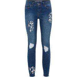 """Rurki damskie: Dżinsy Super Skinny z kwiatowym haftem bonprix niebieski """"stone"""""""
