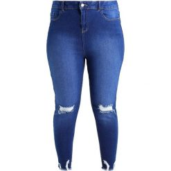 Boyfriendy damskie: New Look Curves BRIGHT RIPPED CRANBERRY Jeans Skinny Fit blue denim