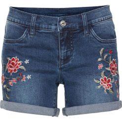 """Szorty dżinsowe z haftem bonprix niebieski """"stone"""". Szare szorty jeansowe damskie marki Sinsay. Za 89,99 zł."""