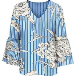 Bluzka z rozkloszowanymi rękawami bonprix niebiesko-biały w paski i kwiaty. Niebieskie bluzki z odkrytymi ramionami bonprix, w kwiaty. Za 89,99 zł.