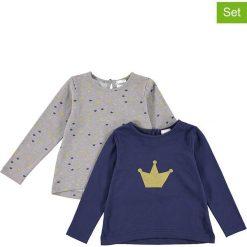 Koszulki (2 szt.) w kolorze szaro-granatowym. Niebieskie bluzki dziewczęce bawełniane Lamino Fashion, z nadrukiem, z dekoltem na plecach, z długim rękawem. W wyprzedaży za 45,95 zł.