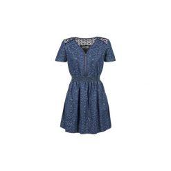 Sukienki krótkie Naf Naf  KAJOU. Niebieskie sukienki mini marki NAF NAF, z krótkim rękawem. Za 319,20 zł.