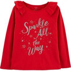Koszulka w kolorze czerwonym. Czerwone bluzki dziewczęce bawełniane marki Carter's, z nadrukiem, z falbankami, z długim rękawem. W wyprzedaży za 42,95 zł.