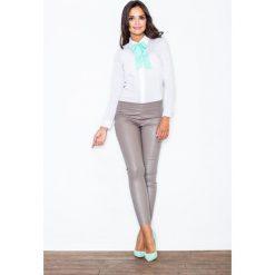 Koszule wiązane damskie: Spodnie ze Zwężanymi Nogawkami- Beżowe