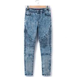 Jeansy dziewczęce: Dżinsowe jegginsy, odcięcia motocyklowe, 10-16 lat
