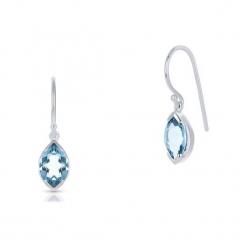 Wyjątkowe Srebrne Kolczyki - srebro 925, Blue topaz. Niebieskie kolczyki damskie W.KRUK, z topazem, srebrne. Za 229,00 zł.