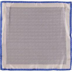 Poszetki męskie: Jedwabna poszetka w kolorze beżowo-niebieskim – 33 x 33 cm