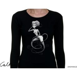 Wężowa - damska koszulka z długim rękawem. Czarne bluzki damskie Pakamera, z długim rękawem. Za 79,00 zł.