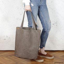 Shopper XL torba brązowa na zamek. Brązowe shopper bag damskie Pakamera, na ramię. Za 155,00 zł.