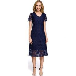 Sukienka z koronką moe275. Niebieskie sukienki koktajlowe marki SaF, na co dzień, xl, z żakardem, z asymetrycznym kołnierzem, dopasowane. Za 169,90 zł.