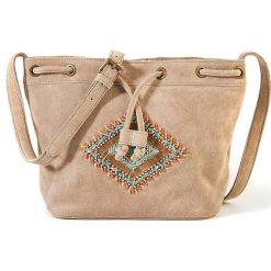 Skórzana torba etniczna. Brązowe shopper bag damskie La Redoute Collections, w paski, z bawełny. Za 320,46 zł.