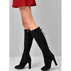 Czarne Kozaki High Chance. Czarne buty zimowe damskie marki Kazar, ze skóry, na wysokim obcasie. Za 84,99 zł.