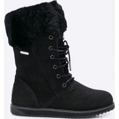 Emu Australia - Botki Shoreline. Czarne buty zimowe damskie EMU Australia, z materiału, z okrągłym noskiem, na obcasie, na sznurówki. W wyprzedaży za 579,90 zł.