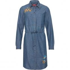 Sukienka dżinsowa z haftem, długi rękaw bonprix niebieski. Niebieskie długie sukienki marki bonprix, z haftami, z długim rękawem. Za 79,99 zł.