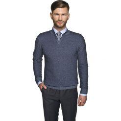 Swetry męskie: sweter blanc troyer granatowy
