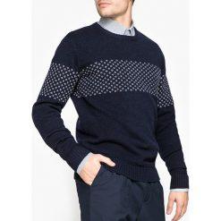 Kardigany męskie: Sweter z okrągłym dekoltem, dzianina o grubym splocie